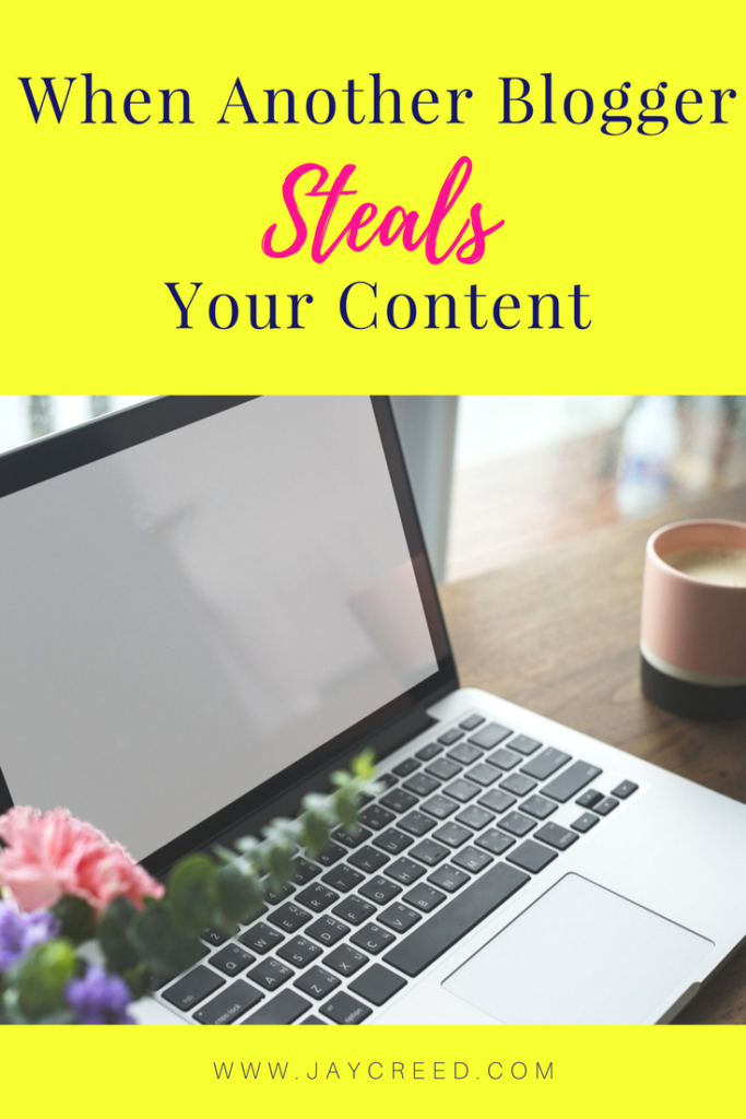 When Another Blogger Steals Your Content - I'm talking when a blogger takes another bloggers work and change only a few details, like name, dates, location etc. Simply put, another blogger is stealing your content; plagiarizing. Also known as content scraping.